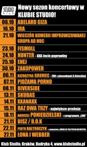 Klub Studio nadal na koncertowej mapie Krakowa!