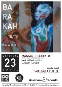 ArtCafe Barakah - koncert (Maniac Du Jour [IT] + Katie Caulfield [PL])_plakat