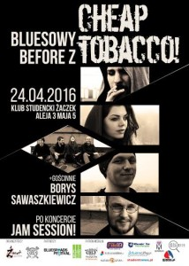 Bluesowy before z CHEAP TABACCO + Jam Session!