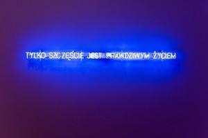 Hubert Czerepok, Tylko szczęście jest prawdziwym życiem, 2007, neon, fot. ze zbiorów Fundacji Polskiej Sztuki Nowoczesnej