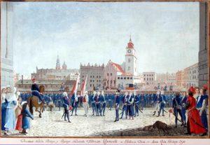 Przysięga Tadeusza Kościuszki na Rynku Krakowskim Michał Stachowicz Kraków 1797,MHK
