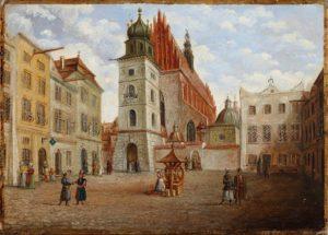 Widok Placu Dominikańskiego z kościołem św. Trójcy, mal. Teodor Baltazar Stachowicz, ok. 1840, MHK