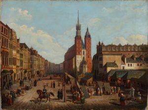 Widok północnej części Rynku krakowskiego z kościołem Mariackim malował Marcin Zaleski 1843 r. olej-płótno,MHK
