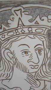 Kamienica Hipolitów sgraffito. Fragment zrekonstruowanego wizerunku św. Zygmunta.