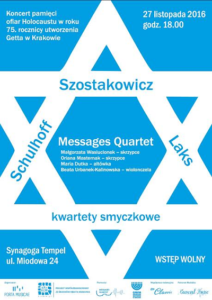 Laks / Schulhoff / Szostakowicz i Messages Quartet w Synagodze Tempel